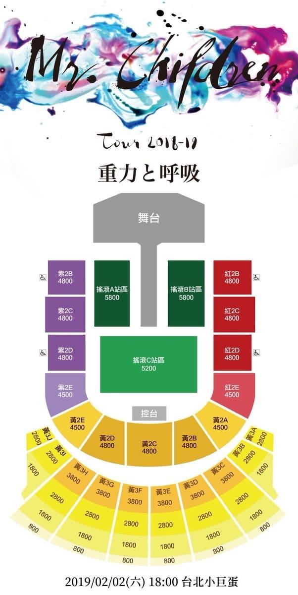 Mr.Children Live Tour 2018-2019 重力と呼吸 台湾・台北アリーナ 座席表